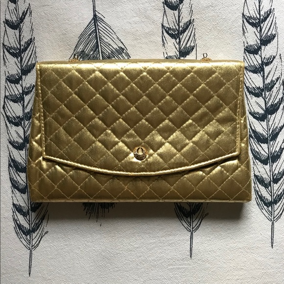 Bags   Vintage Metallic Gold Quilted Clutch Wcoin Purse   Poshmark dbb4861906